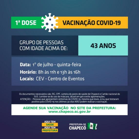 Chapecó abre vacinação para 43 anos ou mais