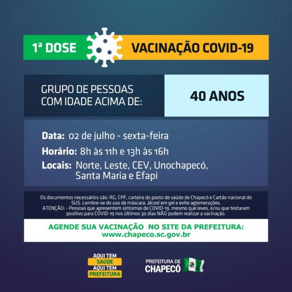 Chapecó vai abrir vacinação para 40, 41, 42 ou mais, na sexta-feira
