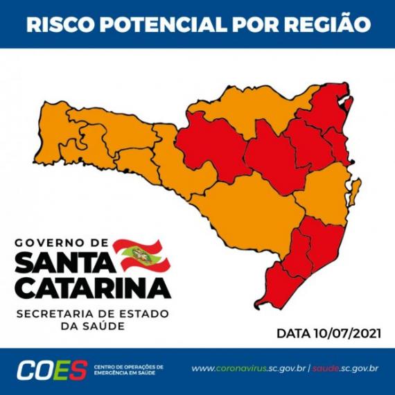Matriz de risco aponta oito regiões em estado grave e oito em gravíssimo