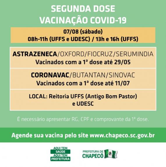 Saúde abre segunda dose também na Udesc, no sábado