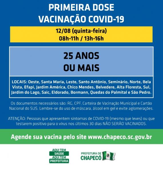 Chapecó abre vacinação para 25 anos geral e 20 anos para indústria ou construção civil