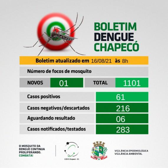 Chapecó tem 61 casos confirmados de dengue