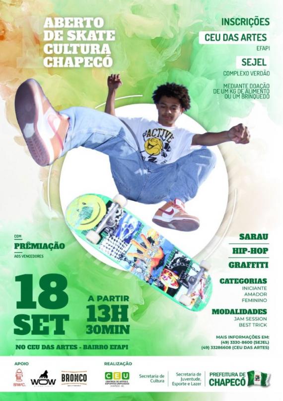 1º Aberto de Skate Cultura de Chapecó ocorrerá em setembro