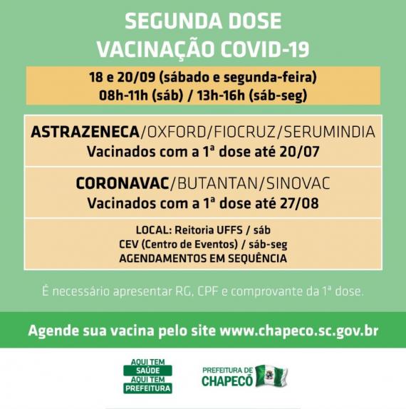 Novo agendamento de segundas doses em Chapecó