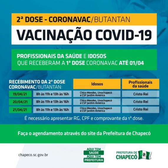 Segunda dose da vacina não será no domingo, mas a partir de segunda