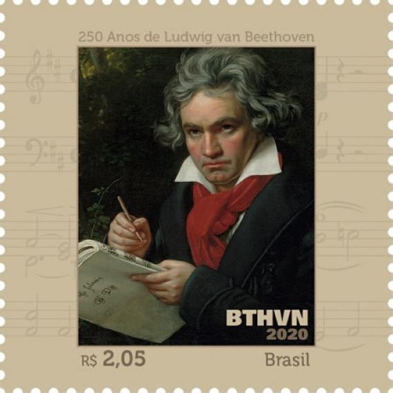 Correios lança selo em homenagem aos 250 anos de Beethoven